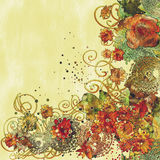 Painting of a beautiful floral border with colorful flowers. Illustration art Stock Photos
