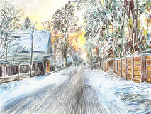 Painting of beautiful winter in the country Royalty Free Stock Photo