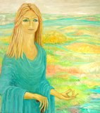 Painting from a beautiful woman in meditation. In a rural landscape Stock Photography