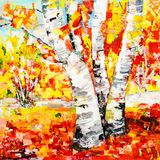 Painting birch tree autumn landscape Royalty Free Stock Images