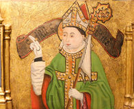 Painting of a Bishop in the Cathedral of Burgos. Painting of a bishop with a mitre and crozier in the Cathedral of Burgos, Castille, Spain stock photo