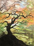 Painting of black tree Stock Photos