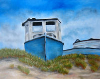 Painting with a blue boat and beach grass. Art. Royalty Free Stock Photos
