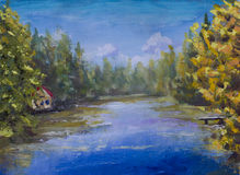 Painting Blue river in forest. House in woods on banks of river. royalty free illustration