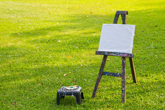 The painting board on green grass royalty free stock photography