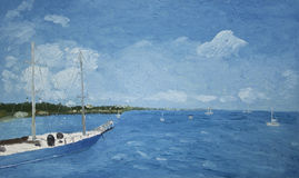Painting of a boat in water. A painting of a sailboat in the water Royalty Free Stock Photography