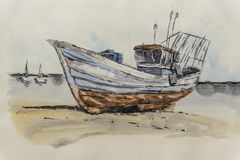 Painting of a boat stock photos