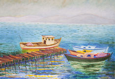 Painting of boats. Oil painting of boats near a pier Stock Photography