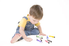 Painting boy. Small boy drawing a picture Stock Photography