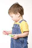 Painting boy. Small boy drawing a picture Royalty Free Stock Image