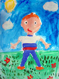 Painting of a boy - made by child Royalty Free Stock Images