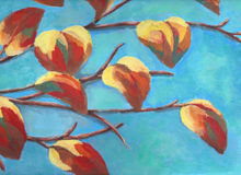 Painting of branch with colorful autumn leaf and blue sky. Painting of autumn tree on sunny day Stock Photo