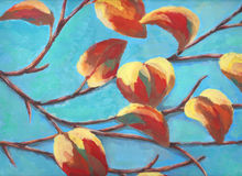 Painting of branch with colorful leaf and blue sky Royalty Free Stock Photos