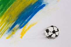 Painting of Brazil flag and soccer ball crafts Stock Photos