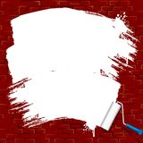 Painting on brick wall. Roller Brush Vector Stock Photo