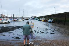 Painting Bridlington harbour Stock Image