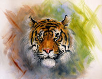 Painting of a bright mighty tiger head on a soft toned abstract Royalty Free Stock Photos
