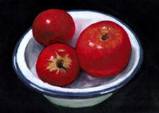 Painting of Bright Red Apples in Enamel Dish. An oil pastel painting of three bright red apples in an old-fashioned white enamel bowl Royalty Free Stock Photography