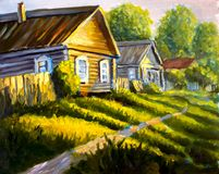 Painting Bright sunny green grass, road through the village. colorful Rural old houses painting illustration - Modern impressionis. Original oil painting Rural vector illustration