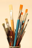 Painting brushes. Brushes for oil and tempera painting Stock Photos