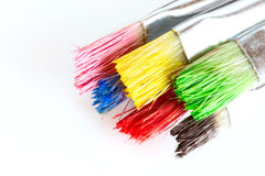 Painting brushes colored by different colors Stock Images