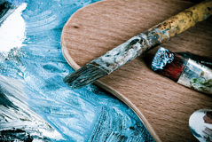 Painting brushes retro. Painting brushes in artist studio Stock Photography