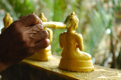 Painting the Buddha Gold Stock Photography