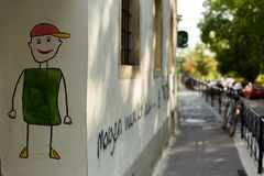 Painting on a building wall Royalty Free Stock Photography