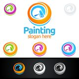 Painting business logo with colorful circle represented painting logo. Painting Service vector Logo design Stock Photos