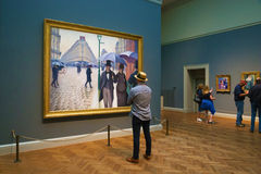 Painting by Caillebotte in Art Institute of Chicago Stock Photos
