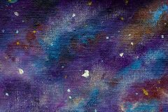 Painting Galaxy in space, Blue cosmic glow, beauty of universe, cloud of star, blur background, illustration artwork canvas. royalty free stock photography