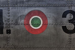 Painting canvas military texture. Depicting Italian badge Royalty Free Stock Images