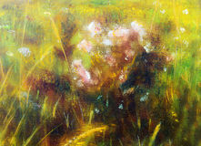 Painting on canvas of a vibrant spring meadow full Stock Images