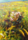 Painting on canvas of a vibrant spring meadow full Stock Photo