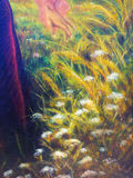 Painting on canvas of a vibrant spring meadow full of wild colorful flowers in the bright sunny day. And detail fairy woman hand. Royalty Free Stock Photo