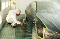 Painting a car Stock Image