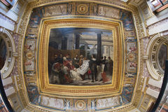Painting on ceiling in Louvre museum Stock Images