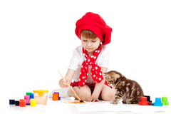 Painting child girl with cat kitten Royalty Free Stock Photography
