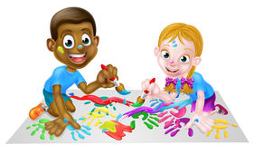 Painting Children Stock Photo