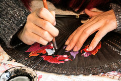 Painting of chinese hand fan. To paint hand fan you have to need special art royalty free stock photography