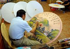 Painting Chinese Oil-Paper Umbrellas Royalty Free Stock Image