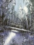 Painting Christmas winter forest covered with snow in sunlight with rays of light and fallen tree stock illustration