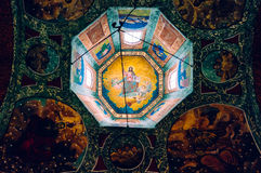 Ceiling painting in church tower Stock Photo