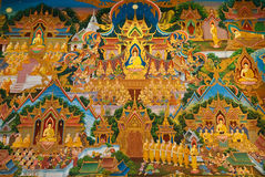 Painting on church wall. Wat Phut-Udom,Pathum Thani,Thailand Royalty Free Stock Image