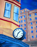 Painting of city building house with blue clock Stock Photos