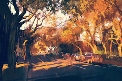 Painting of city street in autumn Stock Images