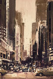 Painting of city street with office buildings Royalty Free Stock Photo