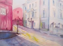 Painting city street romantic light. Royalty Free Stock Photo