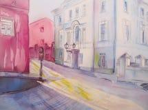 Painting city street romantic light. Royalty Free Stock Photo