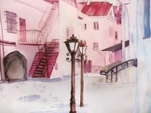 Painting city street romantic light in pink. Painting city street romantic light. Wall decor. Watercolor. European happy town royalty free illustration